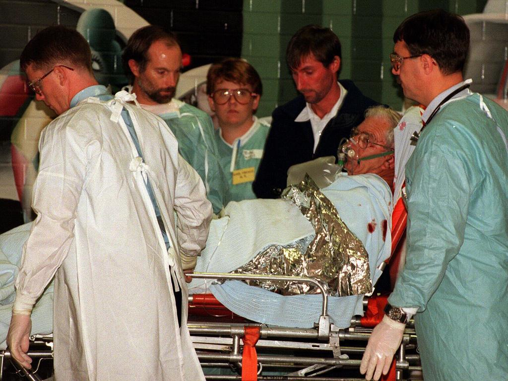 . Medical teams attending shooting victims as they arrive at Royal Hobart Hospital.