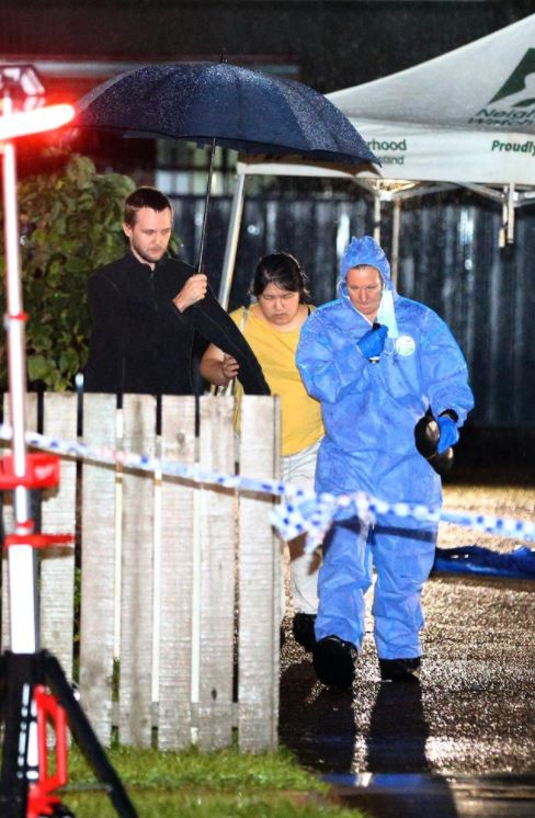 Forensic officers on scene after two men were allegedly killed in Caboolture on Saturday night. Picture: David Clark