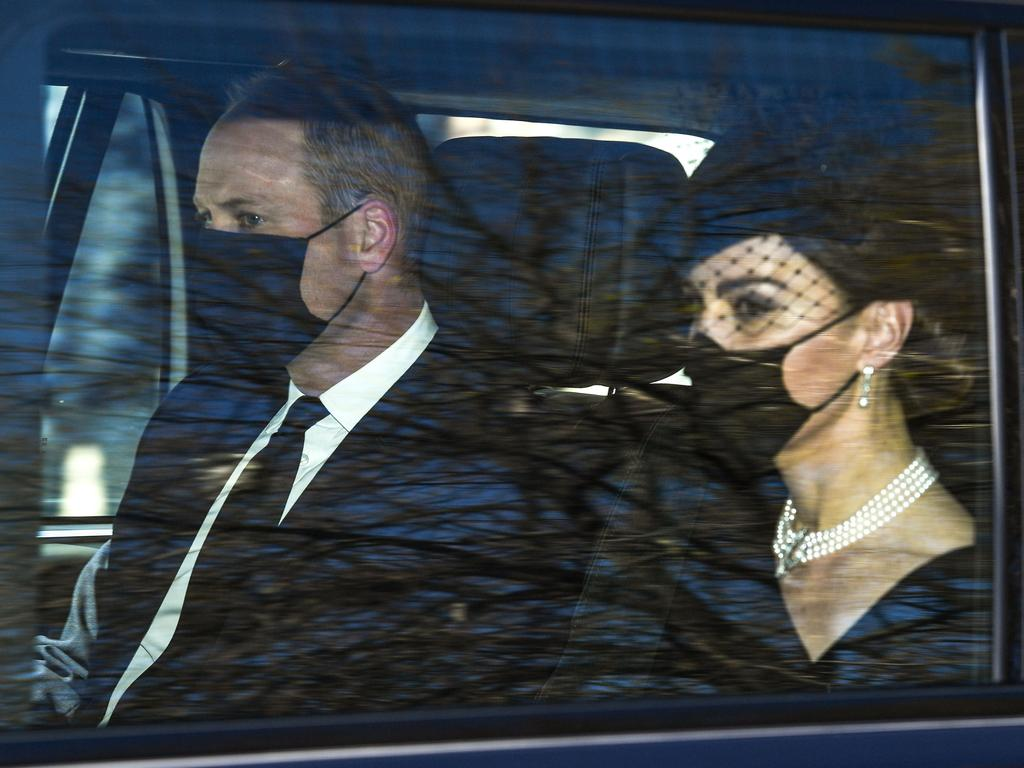 Prince William and Kate leave Kensington Palace for Windsor Castle for the funeral of Prince Philip. Picture: Beretta/Sims/Shutterstock