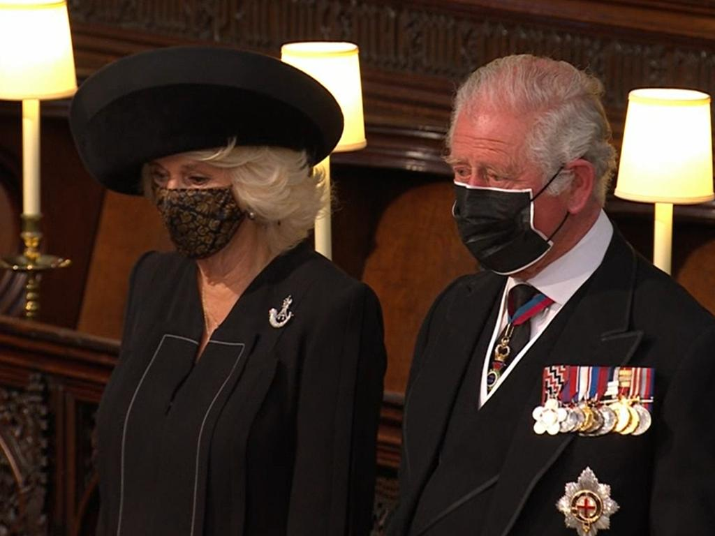 Prince Charles and Camilla at the service. Picture: Channel 7