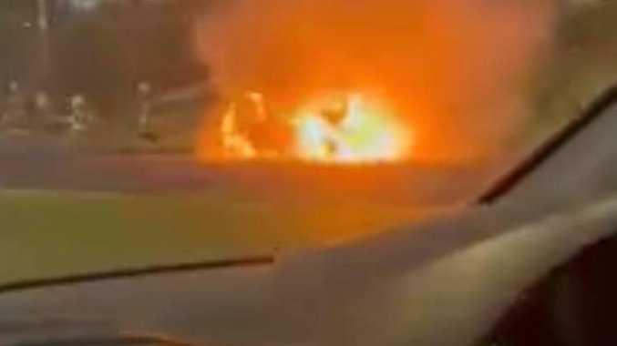 Woman escapes burning car on Dawson Highway
