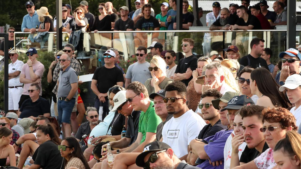 A large crowd came to watch Anthony Milford and Karmichael Hunt run out for Souths Logan against North Devils at Davies Park, West End. Photographer: Liam Kidston.