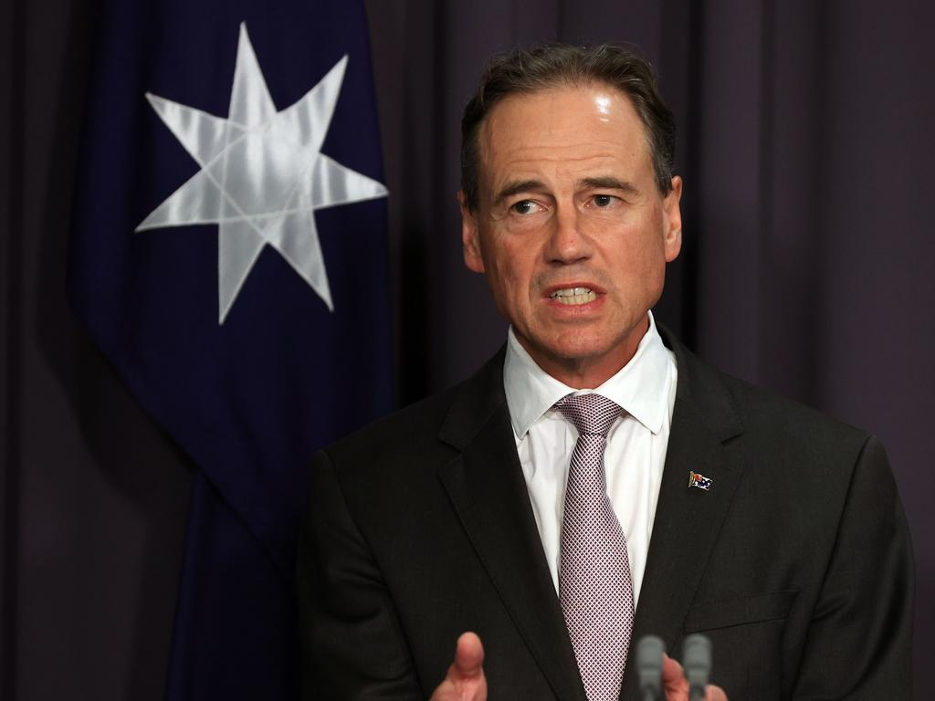 Greg Hunt says the federal government is interested in producing mRNA vaccines, like the Pfizer jab, in Australia. Picture: NCA NewsWire/Gary Ramage