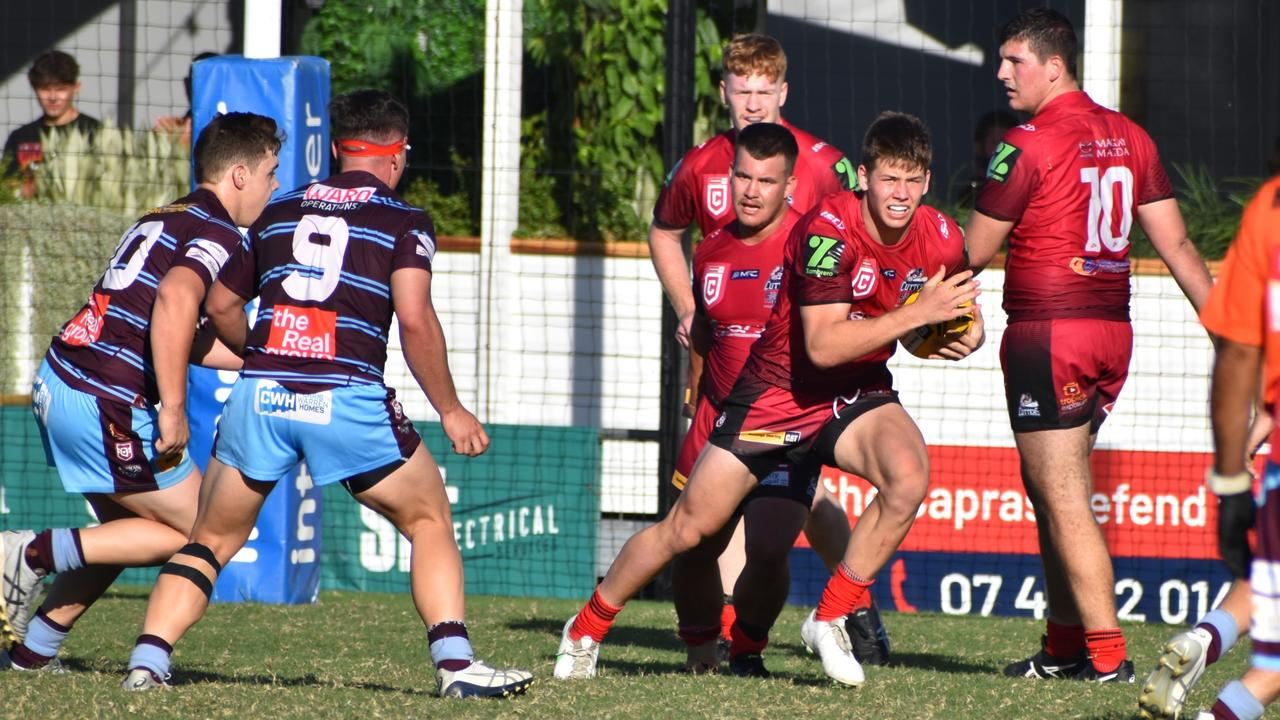 The Mackay Cutters managed just one try against the CQ Capras in the Hastings Deering Colts clash. Photo: Pam McKay
