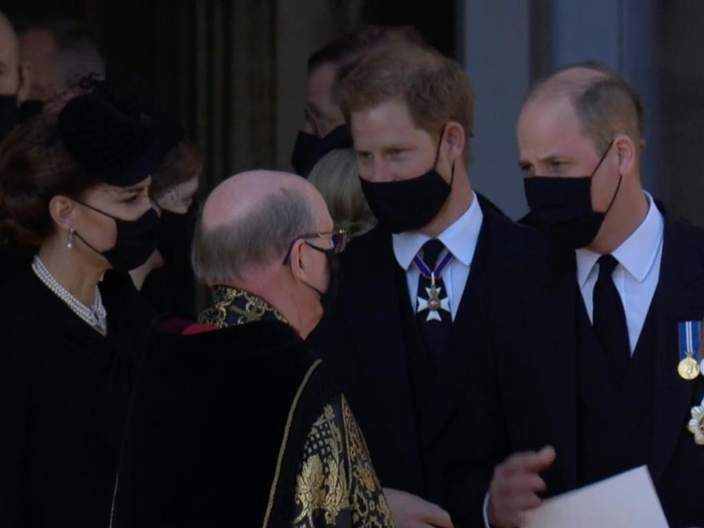 Prince Harry, Prince William and Kate after the funeral. Picture: Supplied