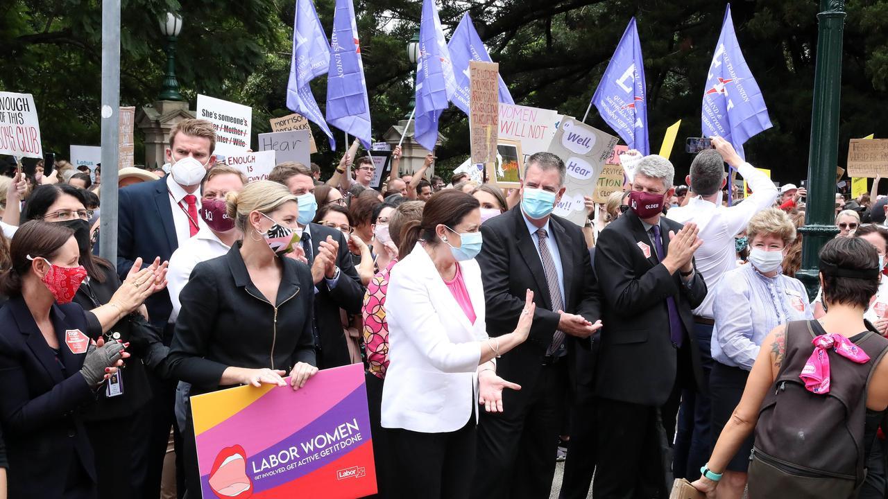 Premier Annastacia Palaszczuk, March 4 Justice rally arrives at Parliament House Brisbane. Photographer: Liam Kidston.