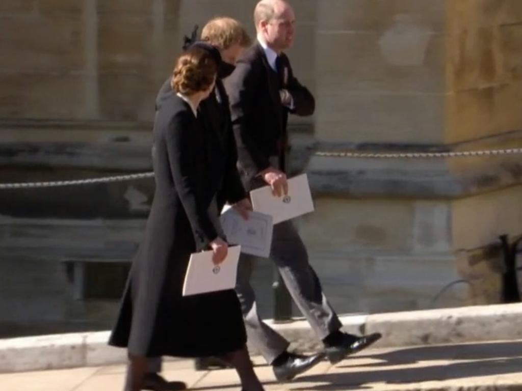 Kate walking with Harry and William after the funeral. Picture: Channel 7