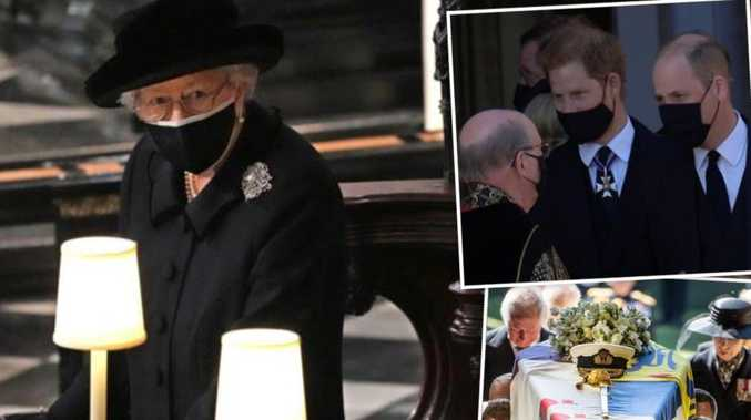 Queen sits alone as William, Harry show surprising unity