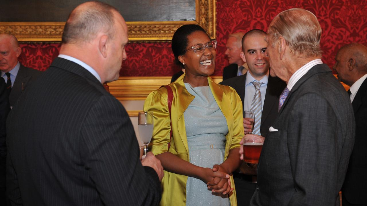 Dr Erica Myers-Davis with Prince Philip at a Royal Commonwealth Ex Services League function. Picture: Supplied