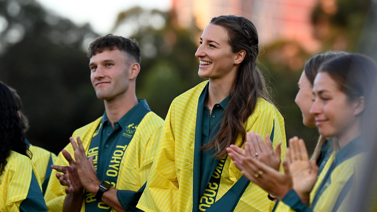 High jumper Nicola McDermott (middle) during the announcement of the Australian track and Field team for the Tokyo 2020 Olympic Games. Picture: NCA NewsWire