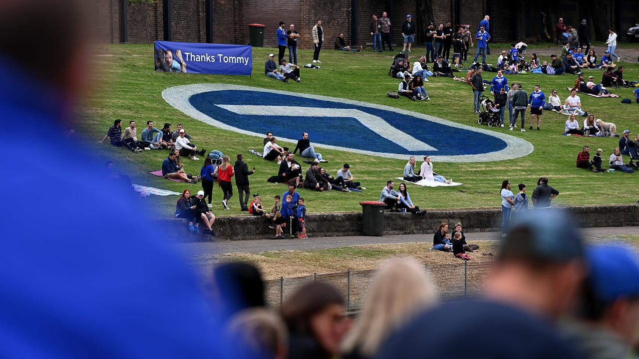 The number 7 is seen painted on the grass at Henson Park on Saturday. Picture: NCA NewsWire/Bianca De Marchi