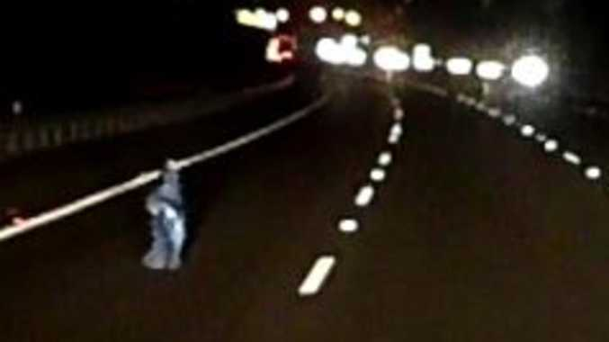 Motorway near-miss: Terrifying moment child steps on to road