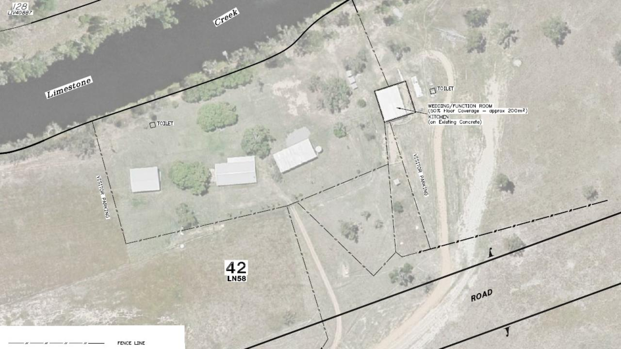 Aerial image of the property. An existing shed is proposed to be the pop-up function facility.
