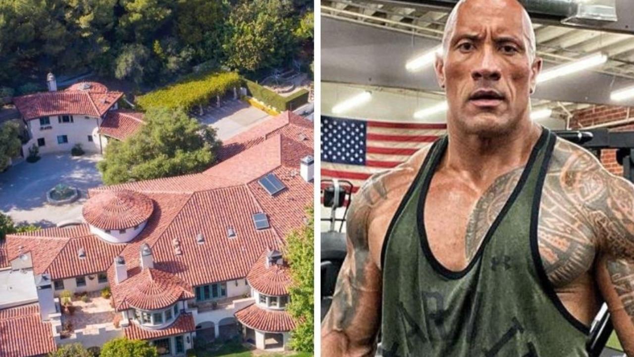 The Rock's Los Angeles mansion. Photos: Backgrid Australia, Instagram.