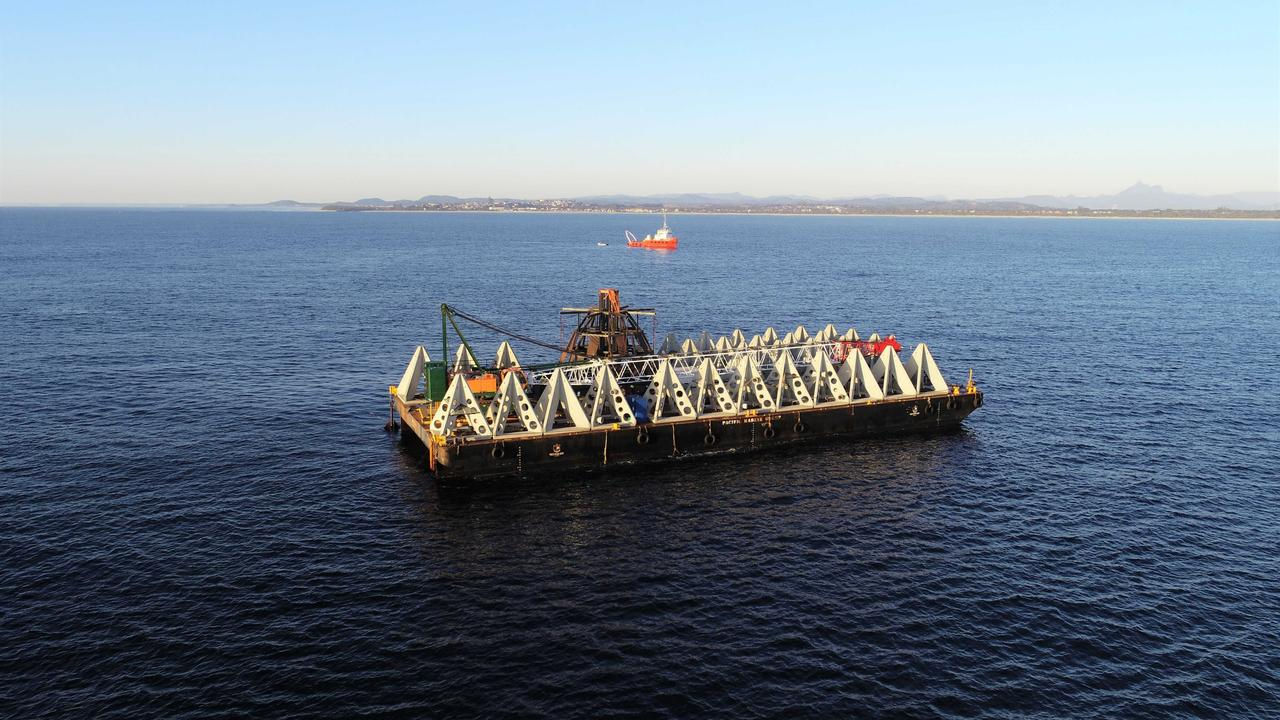 The artificial reef sunk off the Tweed Coast in late 2020.