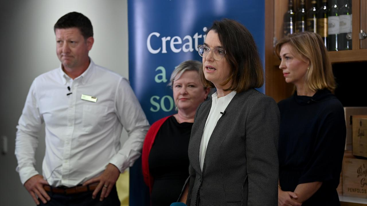 L – R: BWS managing director Scott Davidson, 1800 RESPECT's Fiona Mort, Minister for Women's Safety Anne Ruston and Endeavour Group's Claire Smith. Picture: NCA NewsWire/Bianca De Marchi
