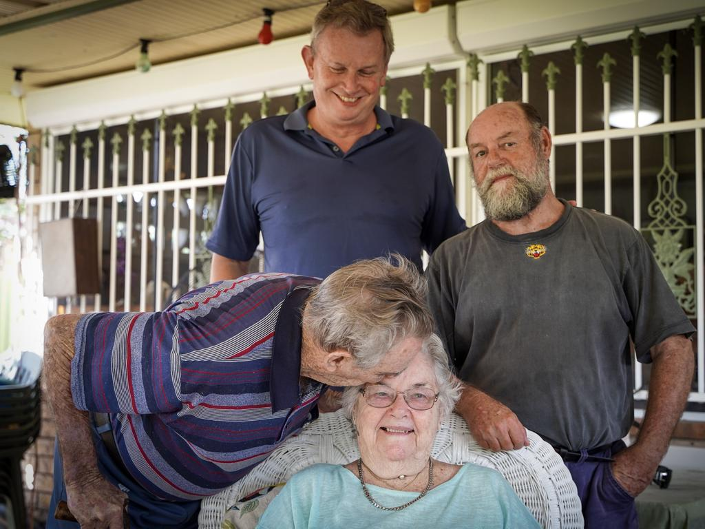 Mackay veteran and VC recipient Keith Payne (left), pictured with PTSD Frontline chairman Dr Peter Wirth (centre), son Colin Payne and wife Florence, is backing the campaign to develop a veterans and first responders treatment centre at Kinchant Dam as part of the Daily Mercury's Hub for our Heroes campaign. Picture: Heidi Petith