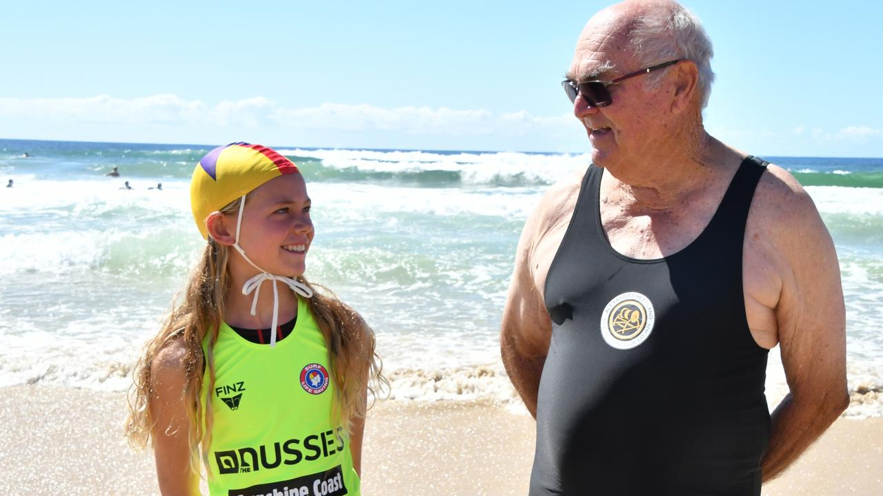Kawana Waters talent Jasmine Luke and Alexandra Headland's Benjamin Day are the Coast's oungest and oldest competitors at the Australian Surf Life Saving Championships. Picture: Harvpix