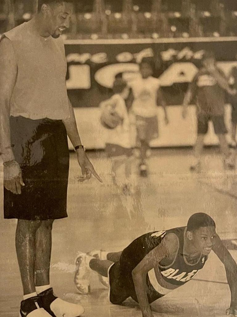 Scottie puts Antron through some push-ups during his time with the Portland Trail Blazers.