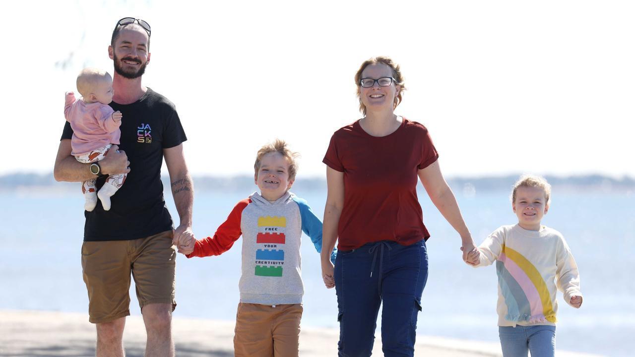 Brendan and Jillian O'Grady with Rory, 7, Anna, 5, and Juliet, 5 months. Picture: Peter Wallis