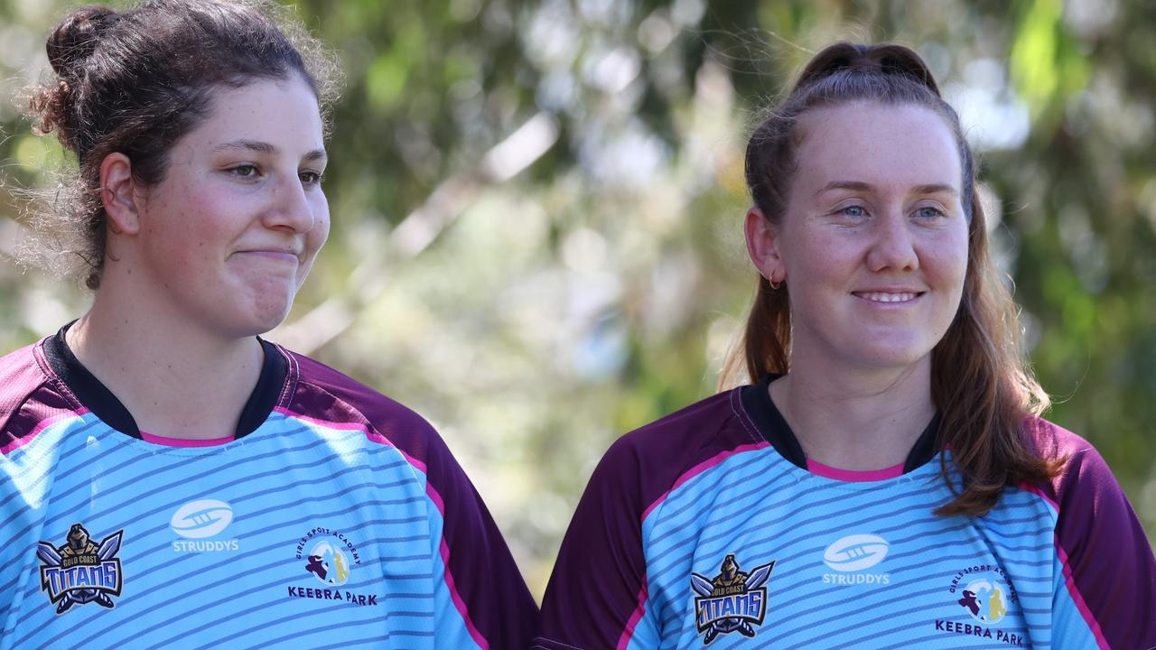 Coaches Chelsea Lenarduzzi and Tamika Upton at Keebra Park's Sports Fields. Photograph : Jason O'Brien