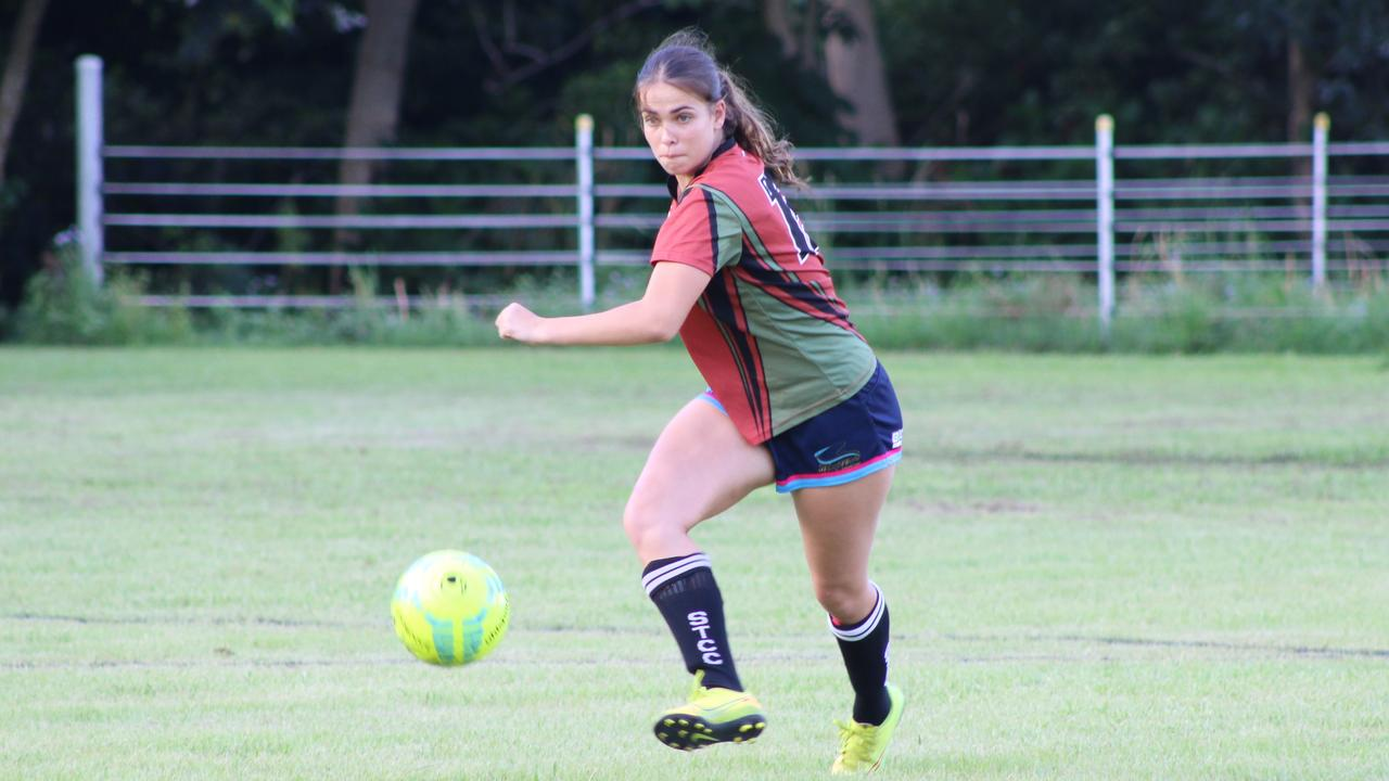 St Teresa's Catholic College player Lily Payne in action against Nambour during the opening round of the Sunshine Coast Schools Football tournament Picture: Tom Threadingham