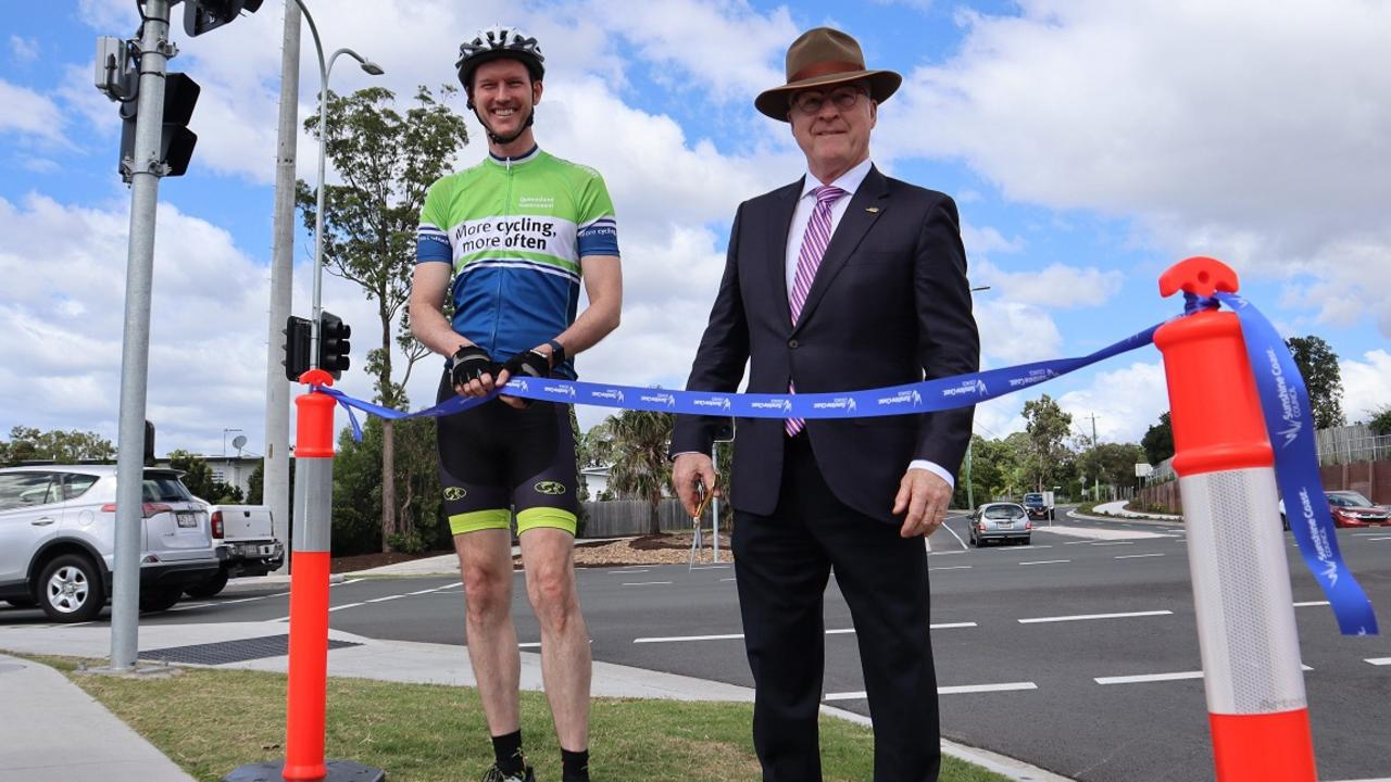 Transport Minister Mark Bailey and Sunshine Coast Council Mayor Mark Jamieson announce the completion of upgrades to Parklands Boulevard.