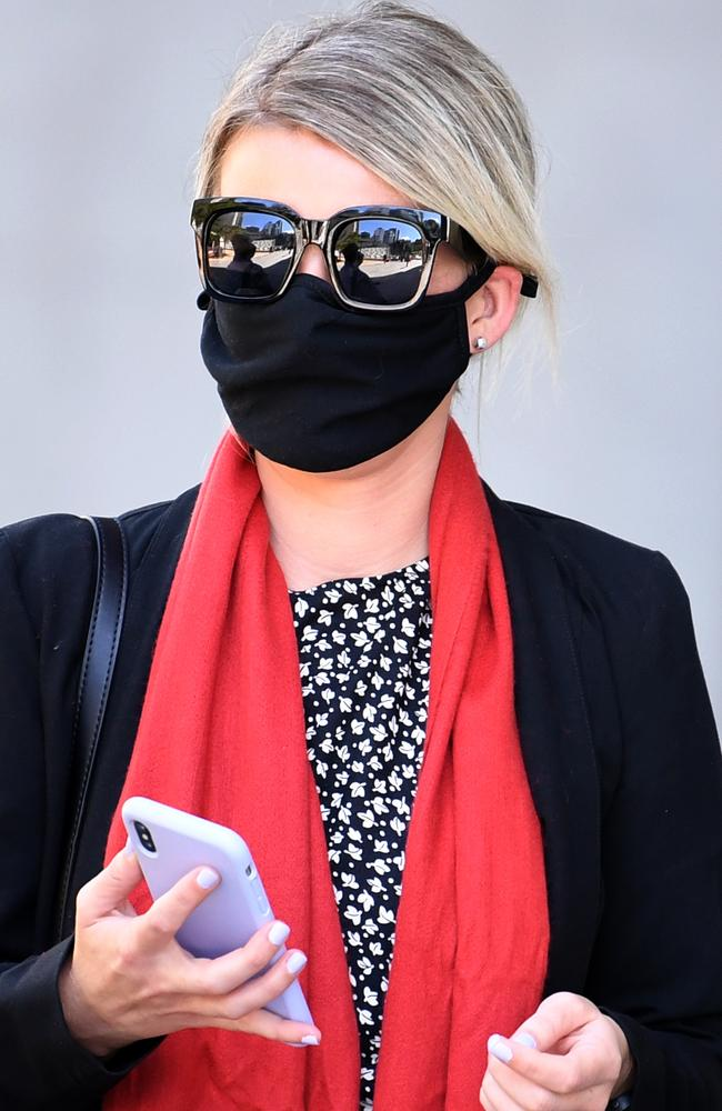 Alisha Robinson leaves the Supreme Court in Brisbane. She was sentenced for possessing and supplying cocaine. Picture: NCA NewsWire / Dan Peled