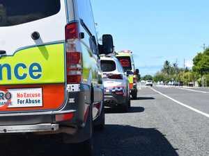 Vehicle crashes down embankment on major hwy
