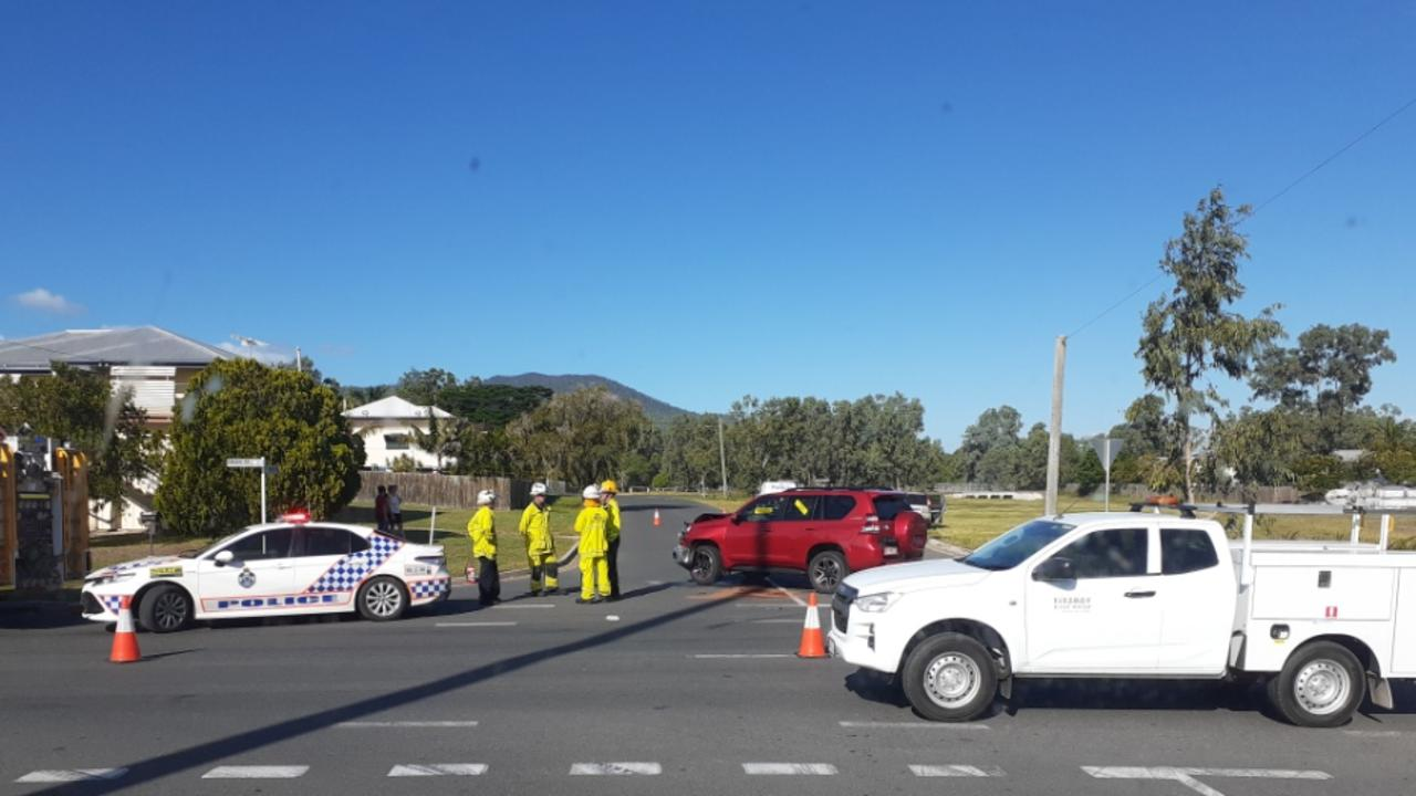 Emergency services at the scene of a two-vehicle crash at the Rodboro and Dean streets intersection on April 19, 2021.