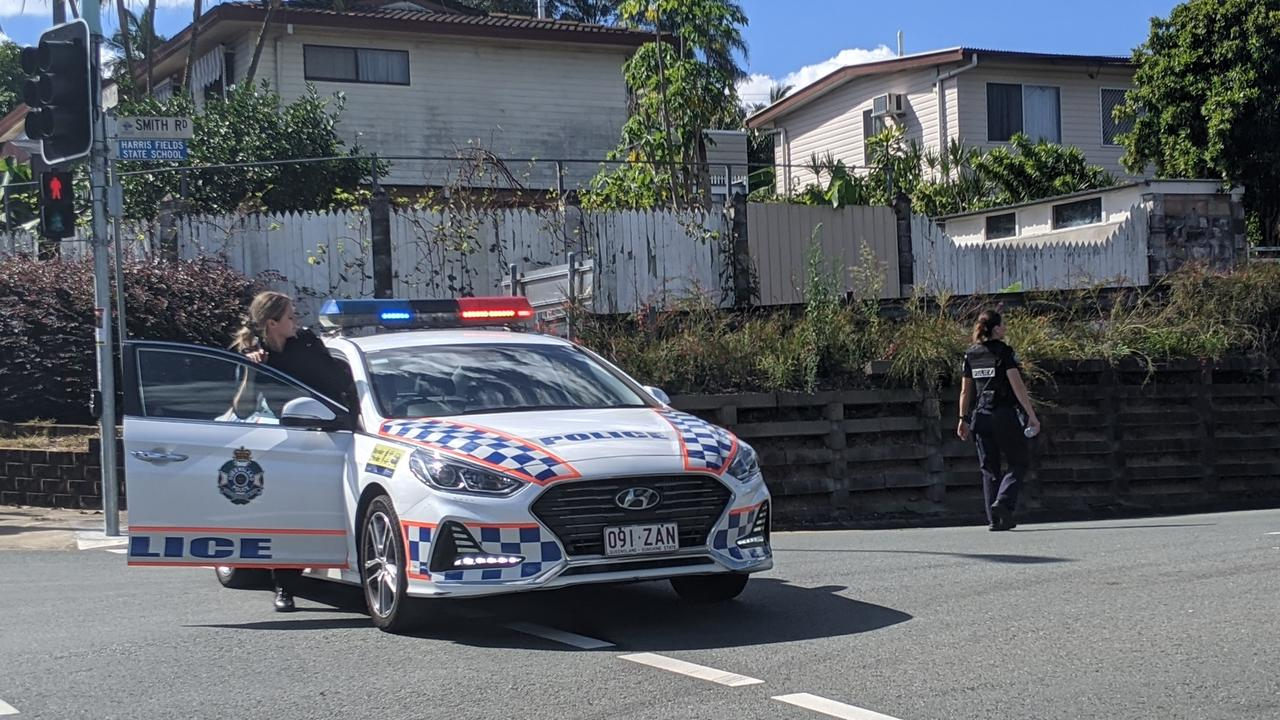 Police at the scene of an emergency situation in Woodridge. Picture: Alex Treacy