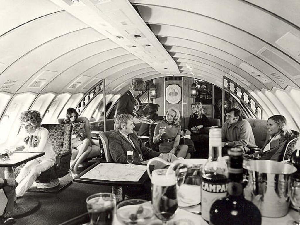 Upper deck lounge area of Qantas 747 circa 1970s. Picture: Qantas
