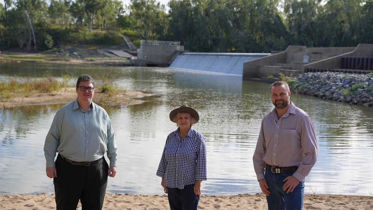 Michelle Landry with Member for Dawson George Christensen and Bowen River Utilities CEO John Cotter touring Collinsville near the Urannah Dam site.