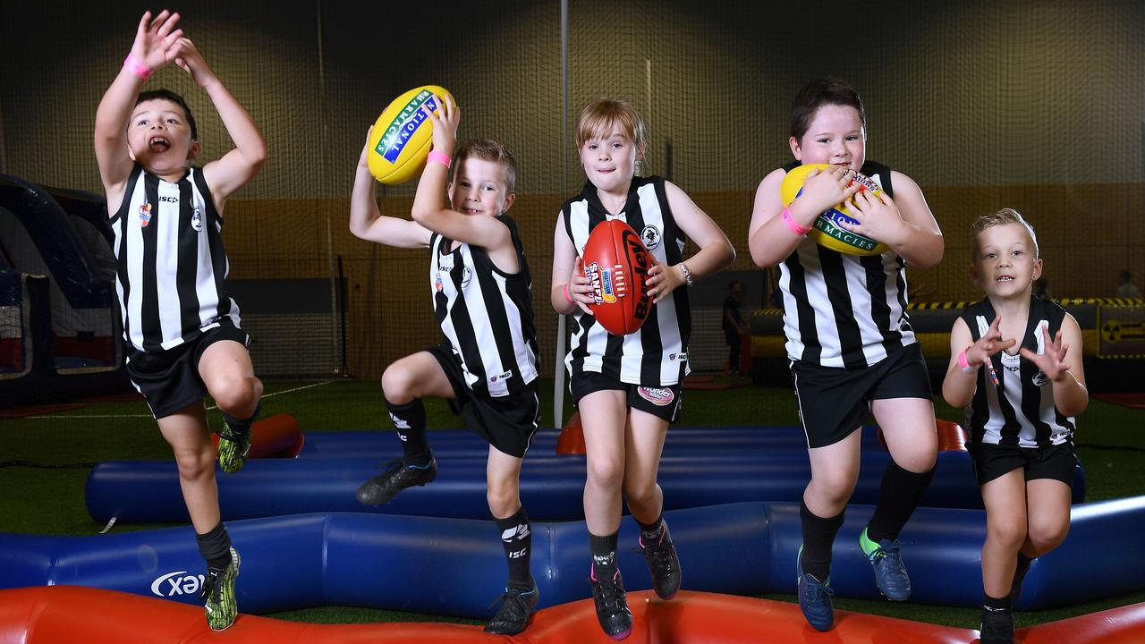 Junior footballers from across Adelaide are scheduled to begin their seasons this Sunday, including Salisbury Football Club players Cooper Slater, 7, Ayden Etheridge, 7, Lucy Ooyendyk, 8, Harry McGahey, 7, and Lucas Lucadei, 6. Picture: Mark Brake