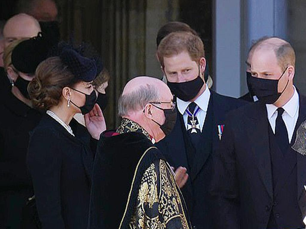 Prince Harry, Prince William and Kate were seen talking together after the funeral. Picture: Supplied