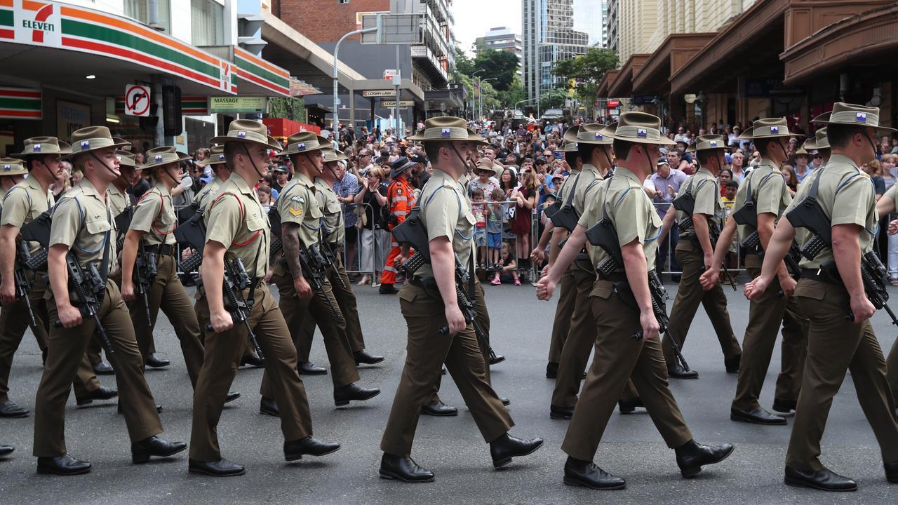 Anzac Day Parade through Brisbane CBD in 2019. Picture Annette Dew