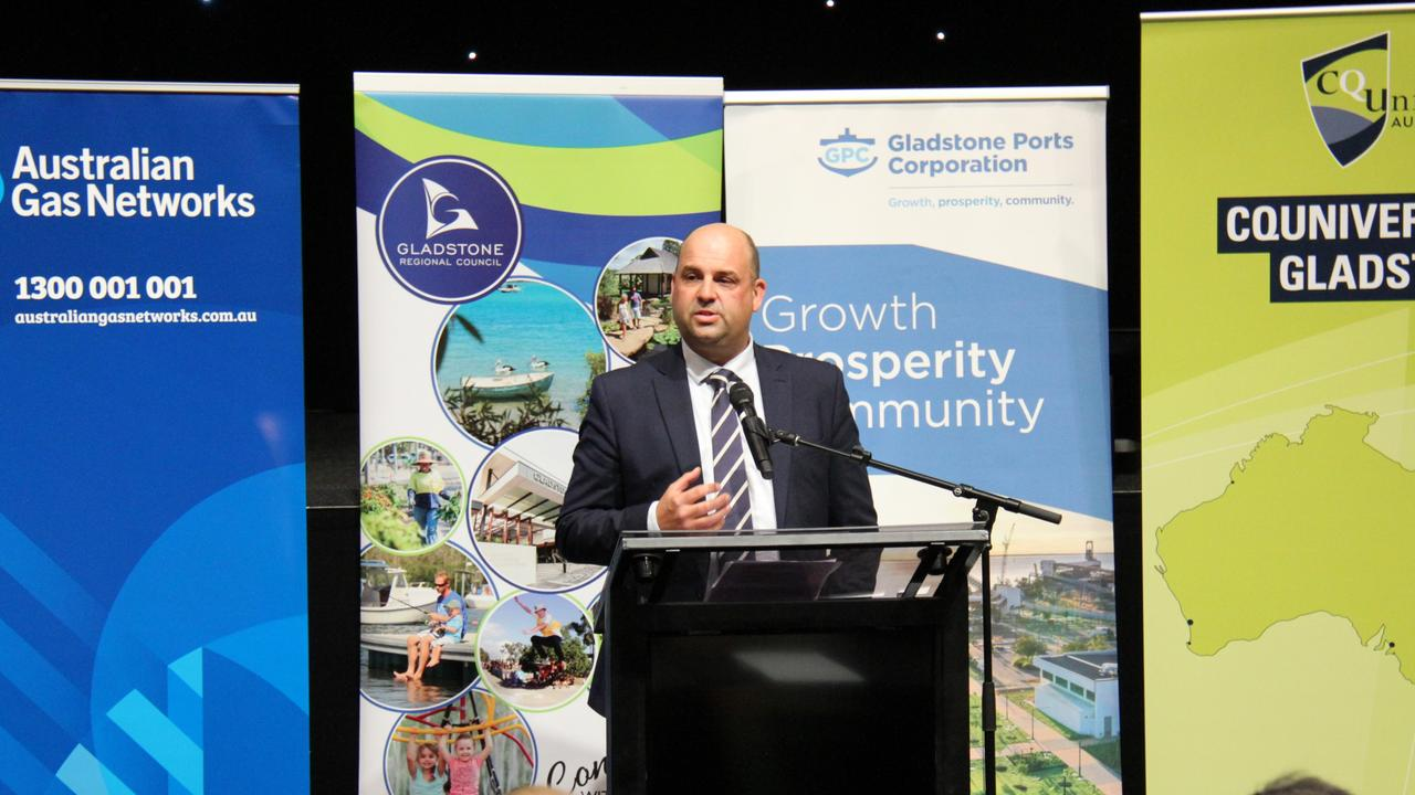Australian Gas Infrastructure Group Executive General Manager People and Strategy Craig de Laine addresses the launch of the Gladstone Hydrogen Ecosystem project. Picture: Rodney Stevens