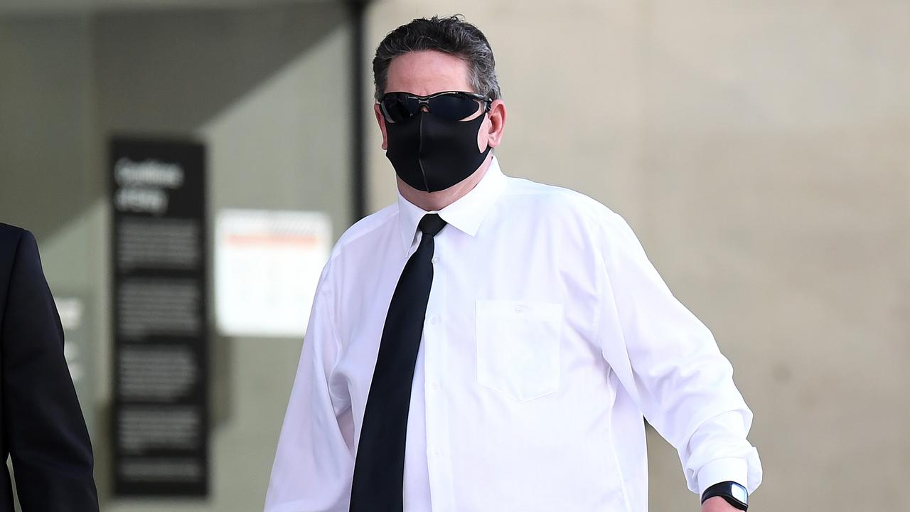 Terry John Dunnett leaves Brisbane District Court after being sentenced for possessing child-like sex dolls. Picture: Dan Peled