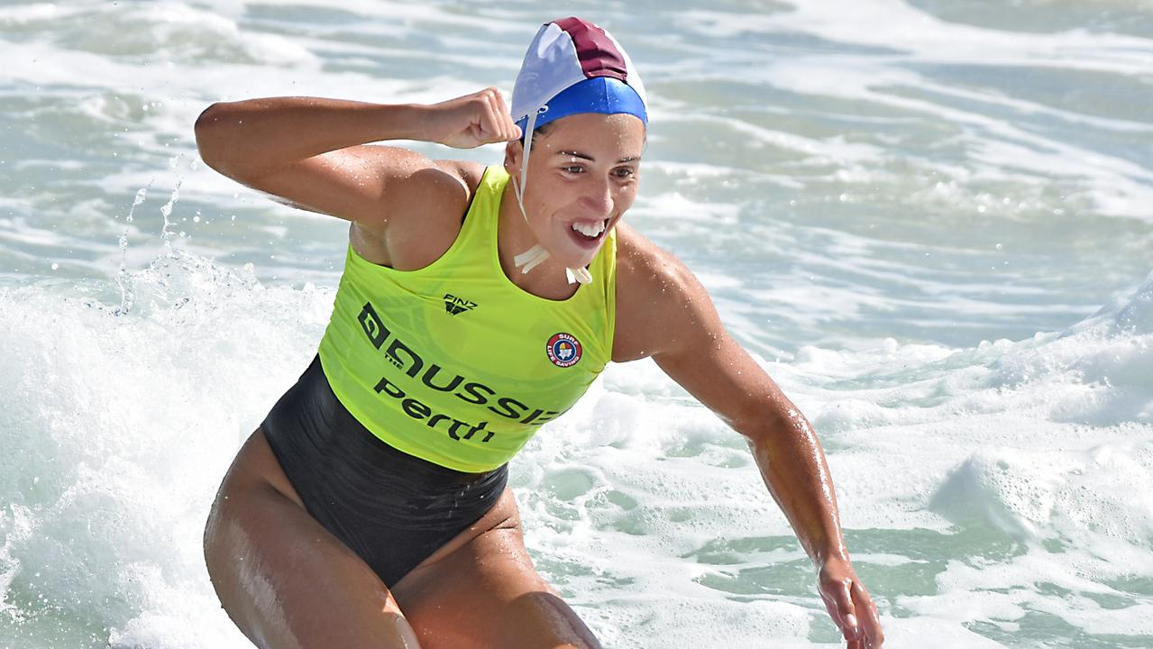Lana Rogers wins the ironwoman race in 2018 at The Aussies. Picture: SLSA