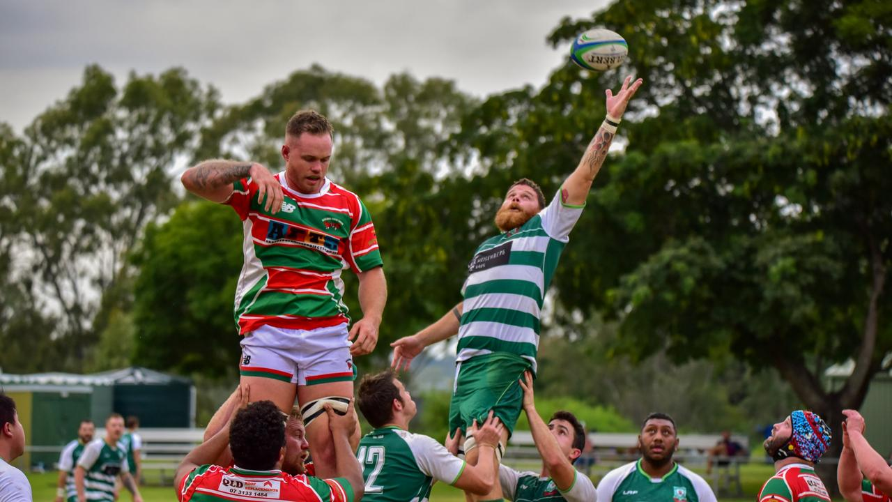 High flying action from the 2021 Barber Cup season-opening match between Ipswich Rangers and Redlands Mudcrabs at Woodend Park. Picture: Bruce Clayton