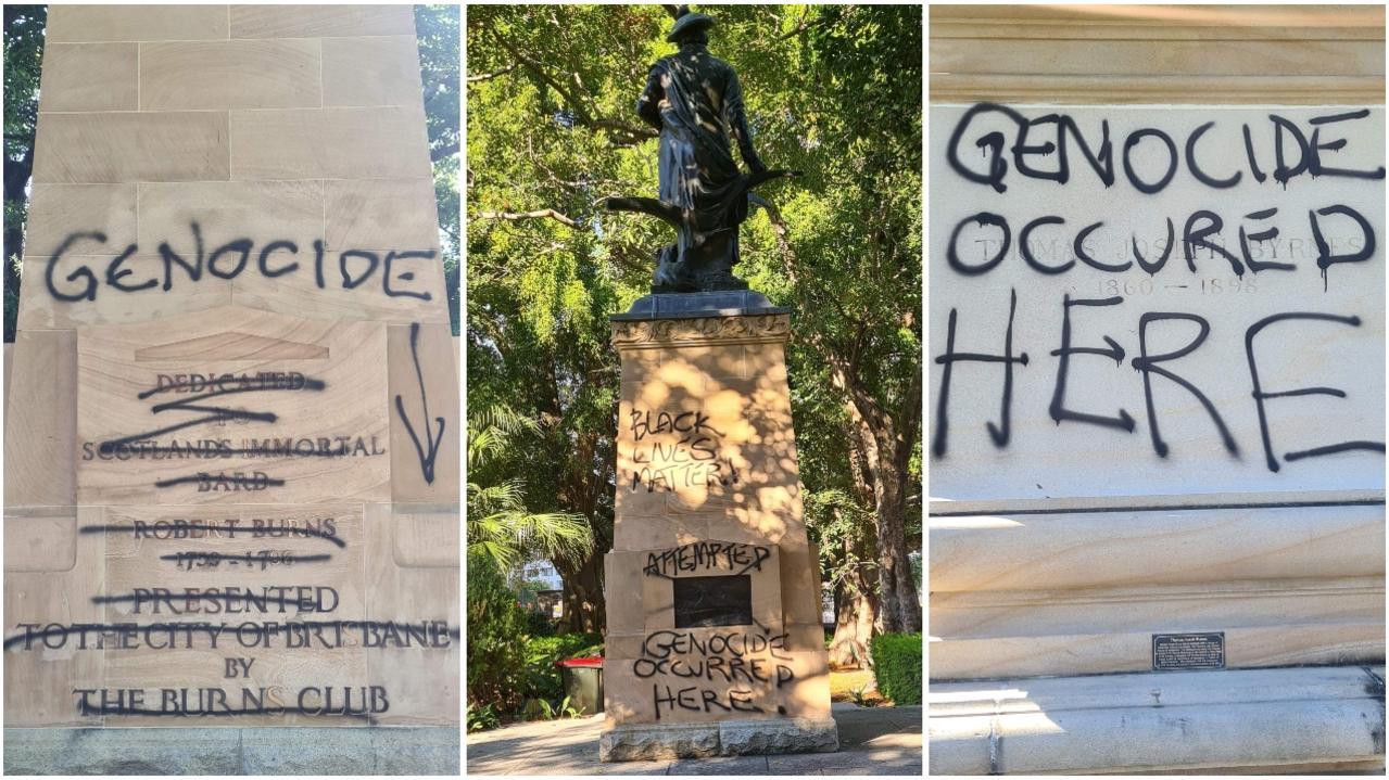 graffiti attack on Valley statue art