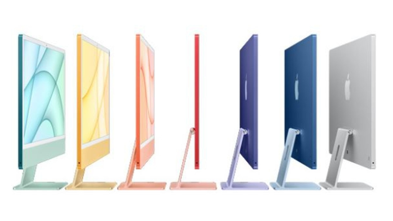 Apple launches new colourful iMacs at its first event in 2021. Picture: Apple