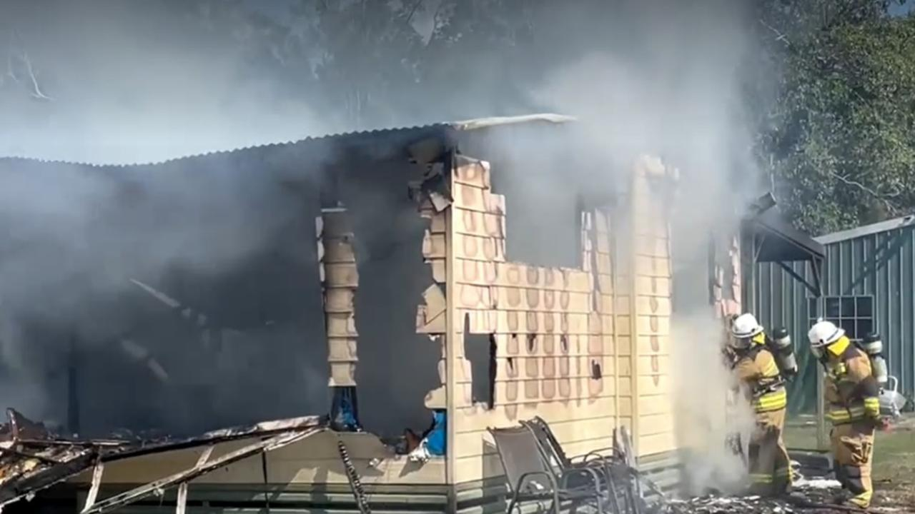 Fire has destroyed a home near Wallu this afternoon.