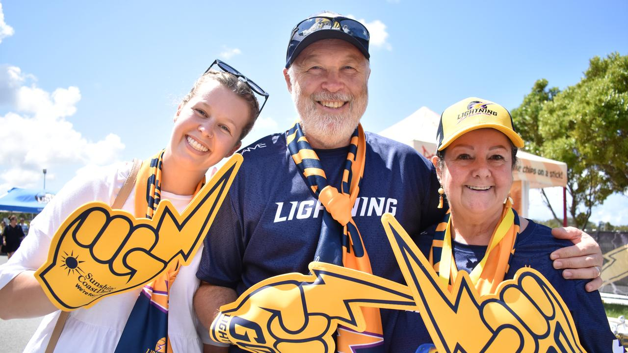 Amelia, Stephen and Michelle Jewell at the Sunshine Coast Lightning and Melbourne Vixens semi final clash at USC Stadium.