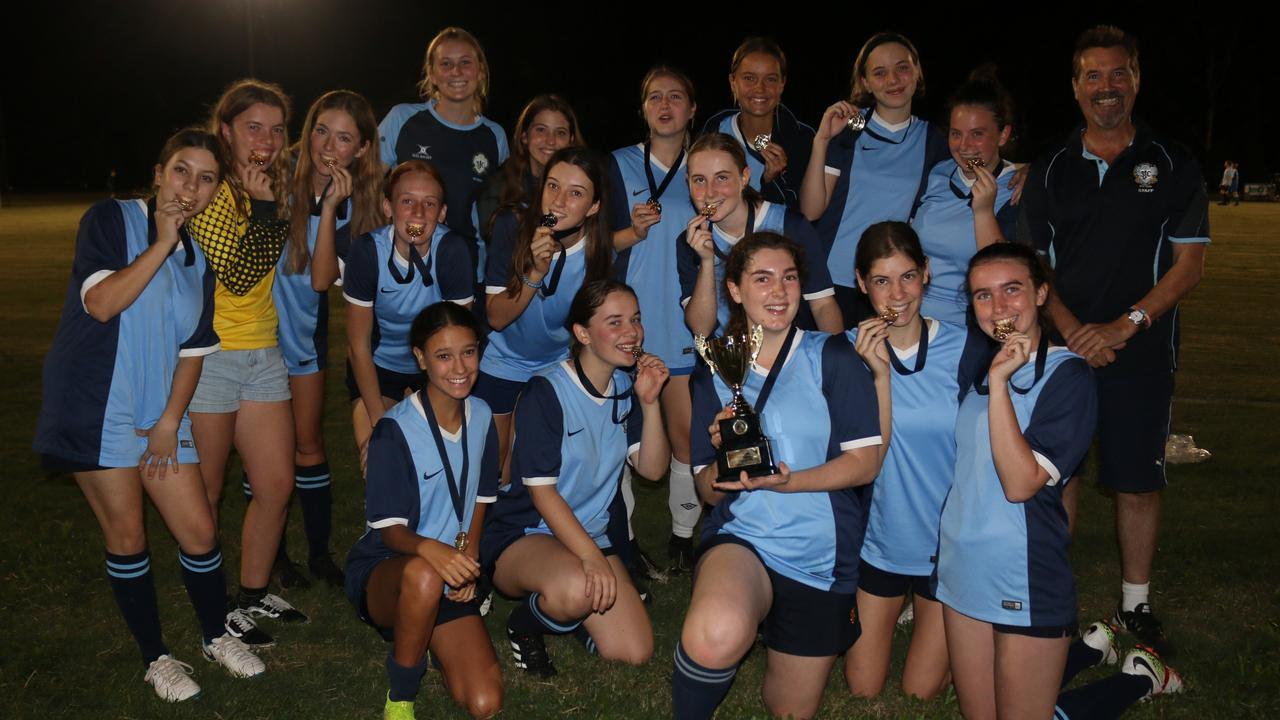 St John's College defeated Nambour State College in the girls grand final of the inaugural Sunshine Coast Schools Football competition. Picture: Tom Threadingham