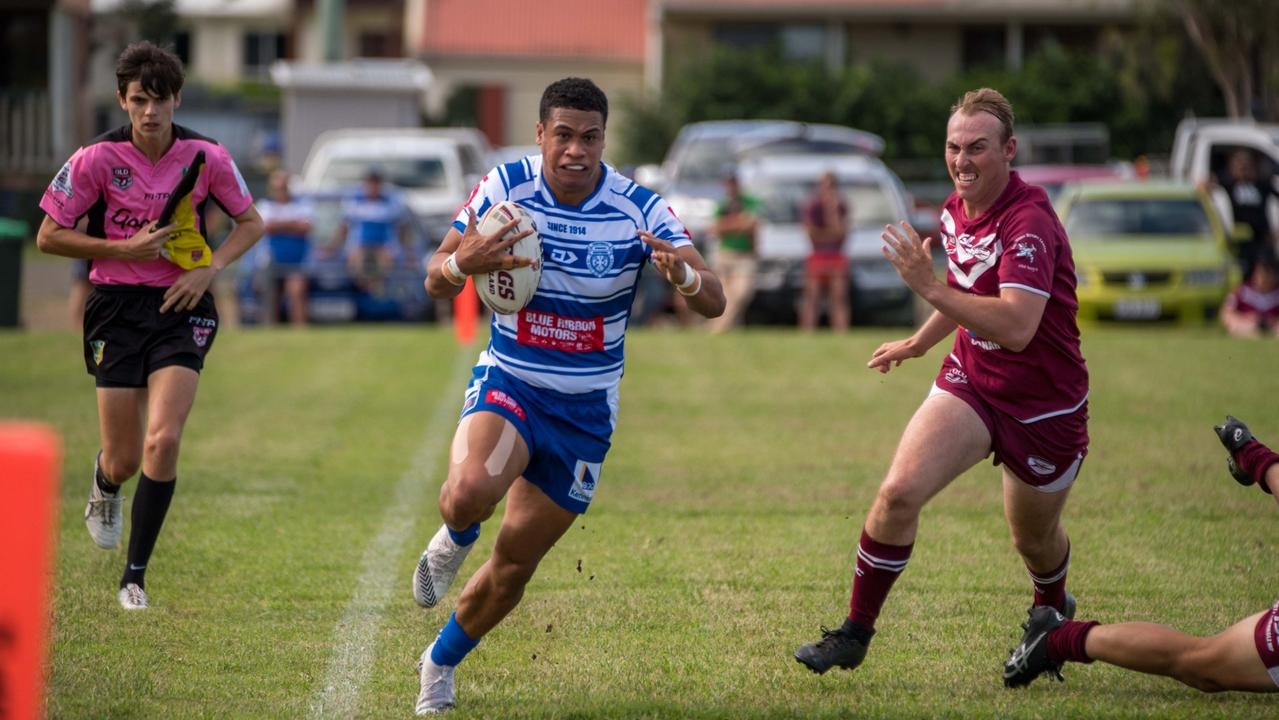 Brothers footballer Don Vilitama makes a blistering run in his A-Grade team's opening match of the 2021 Rugby League Ipswich season. Picture: Bruce Clayton