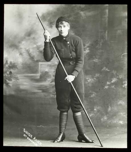 Portrait of Alice Manfield in her own custom designed mountain suit. Image care of Alice Manfield collection, State Library of Victoria