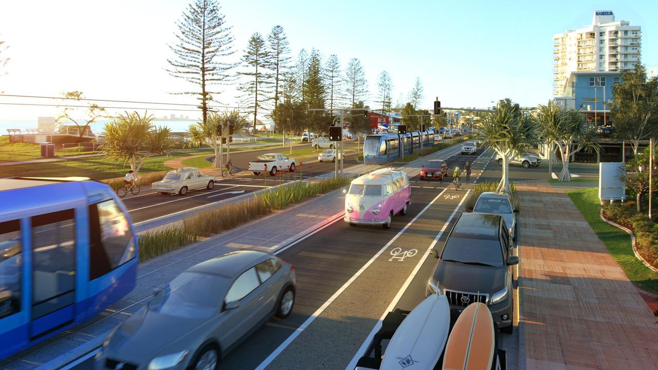 MOCK UP: Sunshine Coast Light Rail Alexandra Pde montage. Photo Contributed