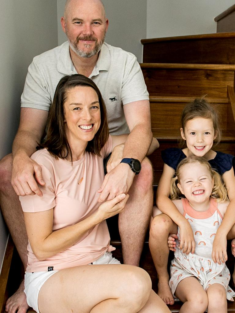 Cassandra Ferris with her husband Chris Ferris and two daughters Piper and Hannah. Photo: Supplied