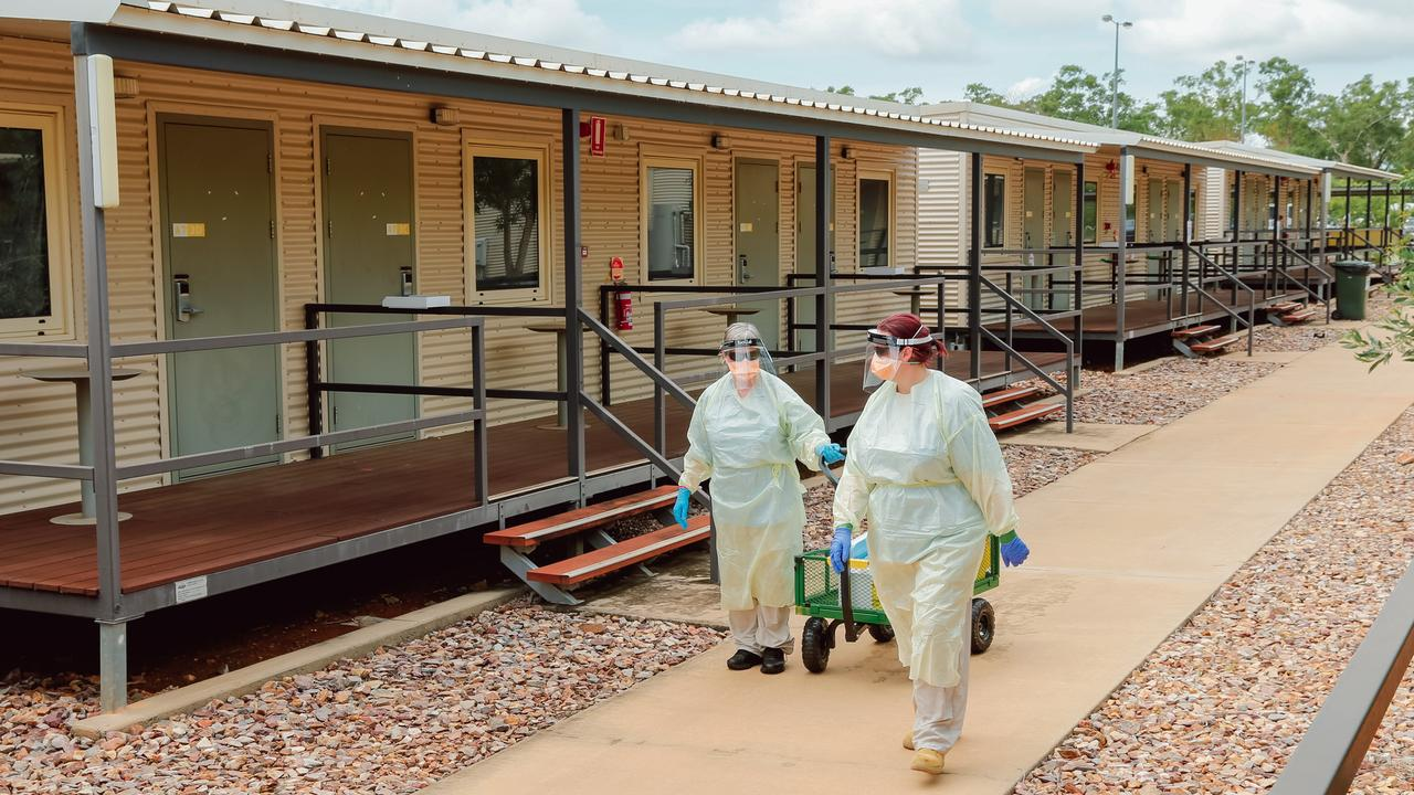 A swabbing team conducting Covid Tests at the NCCTRC/AUSMAT sections of the Howard Springs Corona virus quarantine Facility on the outskirts of Darwin in The Northern Territory. Picture GLENN CAMPBELL